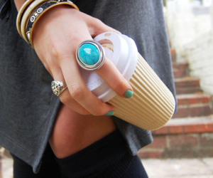 fashion, ring, and coffee image