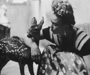 frida kahlo, deer, and black and white image