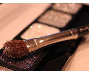 brush, glitter, and makeup image