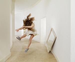 girl, jump, and white image