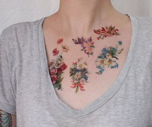 tattoo, flowers, and art image