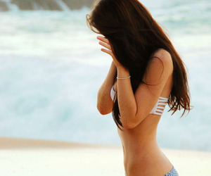 girl, beach, and bikini image