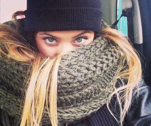 girl, beautiful, and scarf image