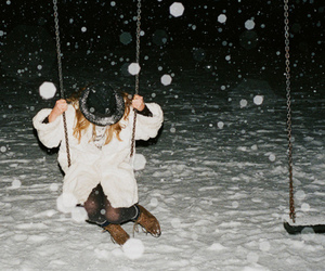 snow, girl, and swing image