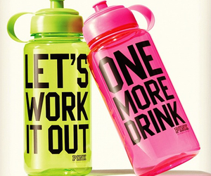 pink, workout, and drink image