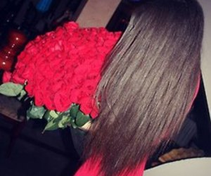 brunette, long, and roses image