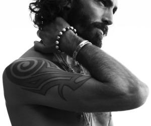 beard, naked, and long haired man image