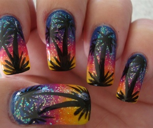 glitter, nails, and palm tree image