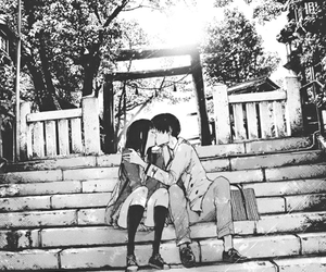 anime, black and white, and couple image