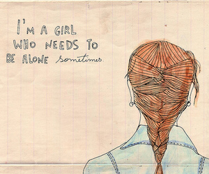 girl, alone, and drawing image