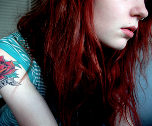 girl, tattoo, and red hair image