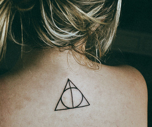 deathly hallows, hair, and tatoo image
