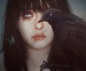 art, girl, and crow image