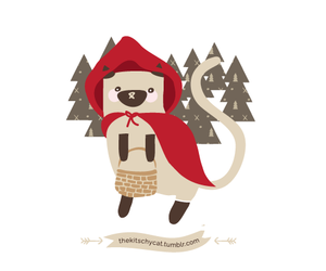 cat, illustration, and little red riding hood image