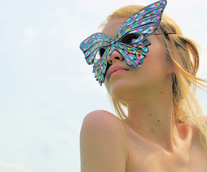 blonde, butterfly, and colors image