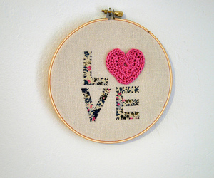 crochet, heart, and pink image
