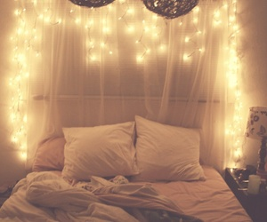 bedroom, decorations, and lights image