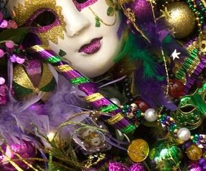 mardi gras, mask, and beads image