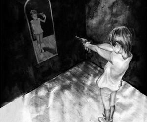 suicide, mirror, and black and white image