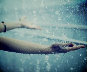 rain, hands, and water image