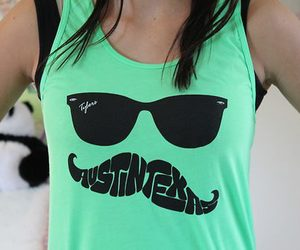 mustache, green, and cool image
