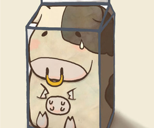 milk, cow, and drink image