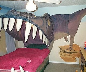 bed and dinosaur image