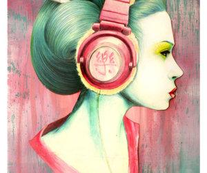 art, geisha, and headphones image