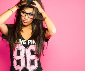 girl, pink, and glasses image