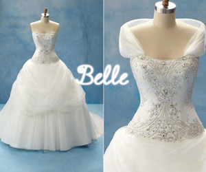 beauty and the beast, wedding gown, and belle image