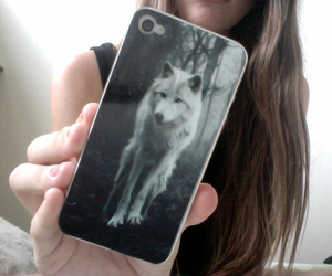 wolf, girl, and iphone image