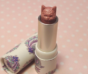 cat, lipstick, and pink image