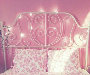pink, bed, and bedroom image