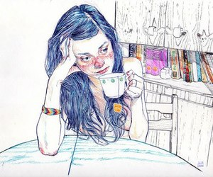 girl, art, and tea image