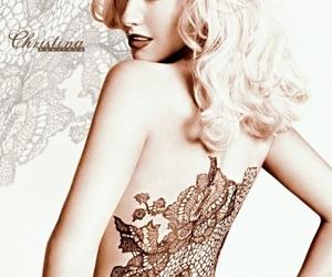 christina aguilera, lace, and tattoo image