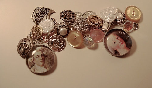 bracelet, buttons, and coins image