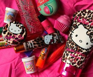 hello kitty, pink, and cosmetics image