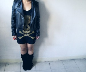 boots, leather jacket, and leather image