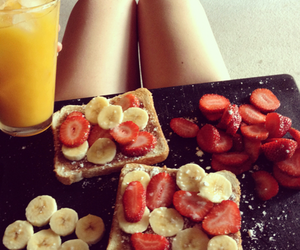 food, banana, and strawberry image