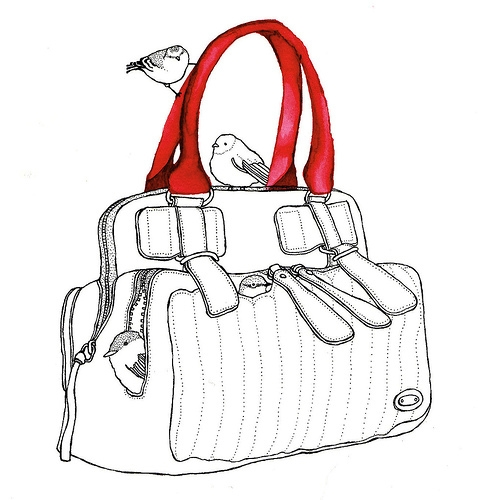 purse, bird, and drawing image
