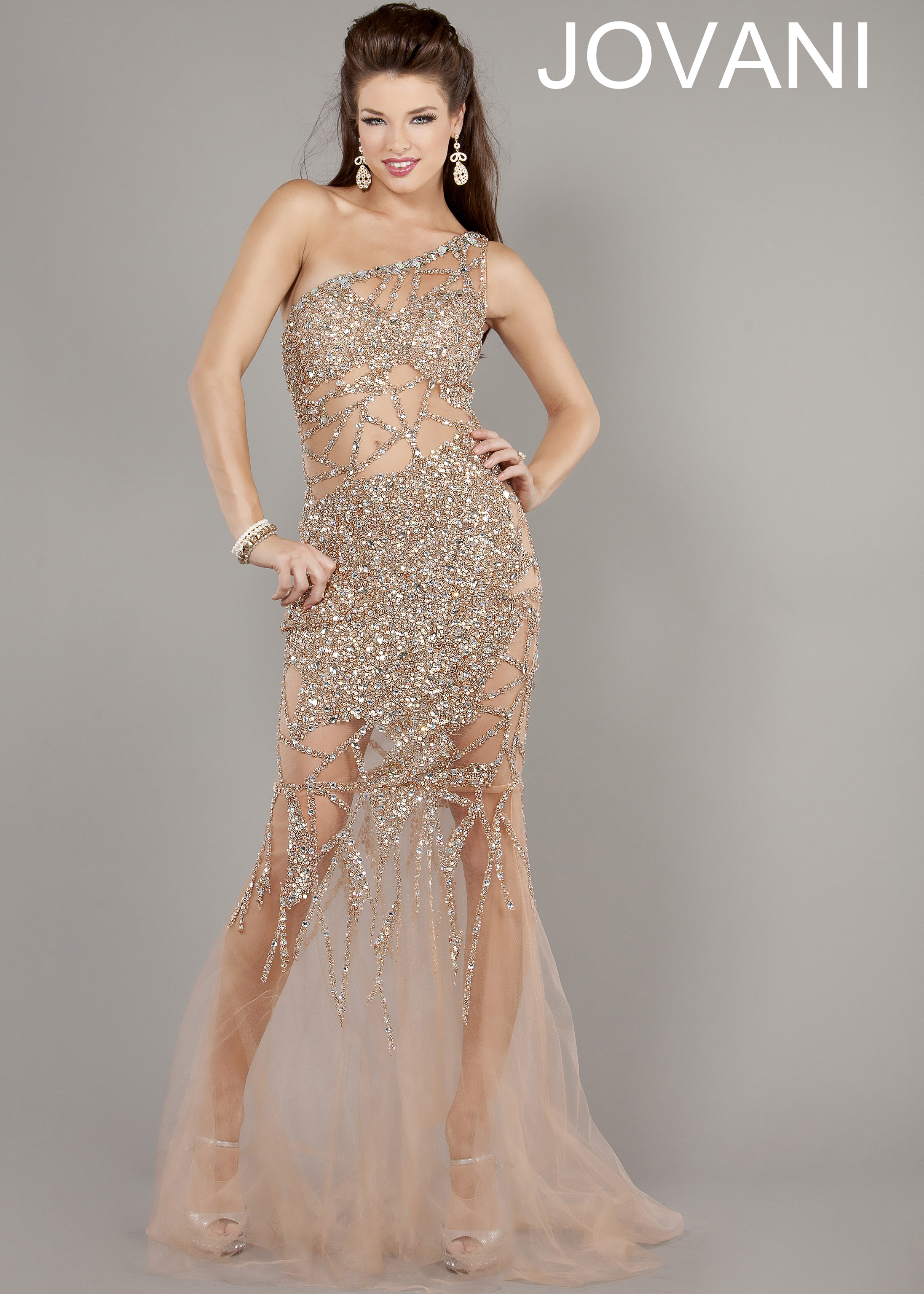 Jovani 6395 - Nude One Shoulder Illusion Evening Gowns, Prom Dresses ...