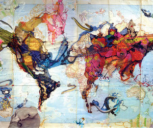 map, world, and art image