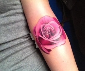 tattoo, rose, and pink image