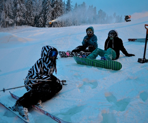 finland, snow, and snowboard image