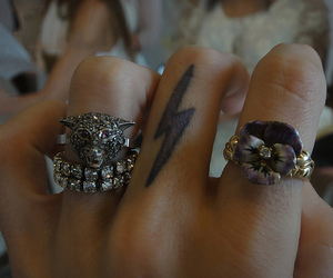 tattoo, rings, and fingers image