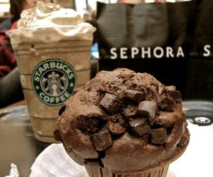 coffee, cupcake, and frappuccino image