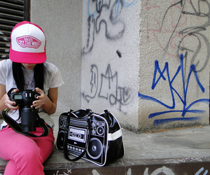 boombox, girl, and vans image