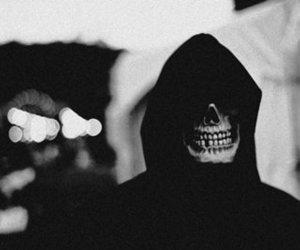 black and white, skull, and black image