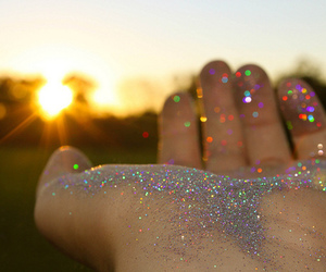 glitter, sun, and hand image