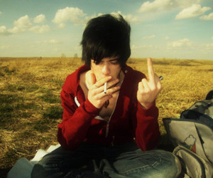 boy, sky, and cigarette image